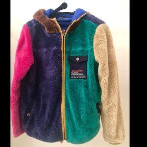 Vintage Multicolor  Fuzzy Jacket with Hoodie